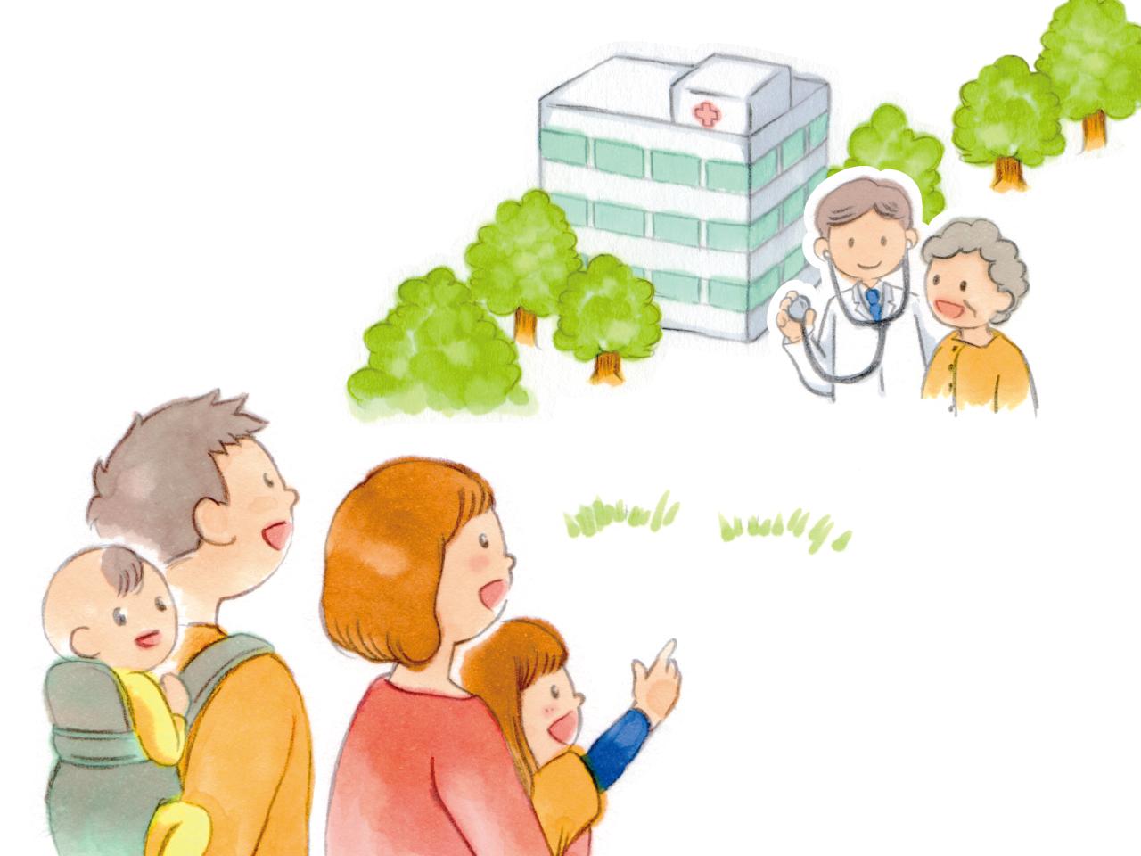 子育て中の親子と病院