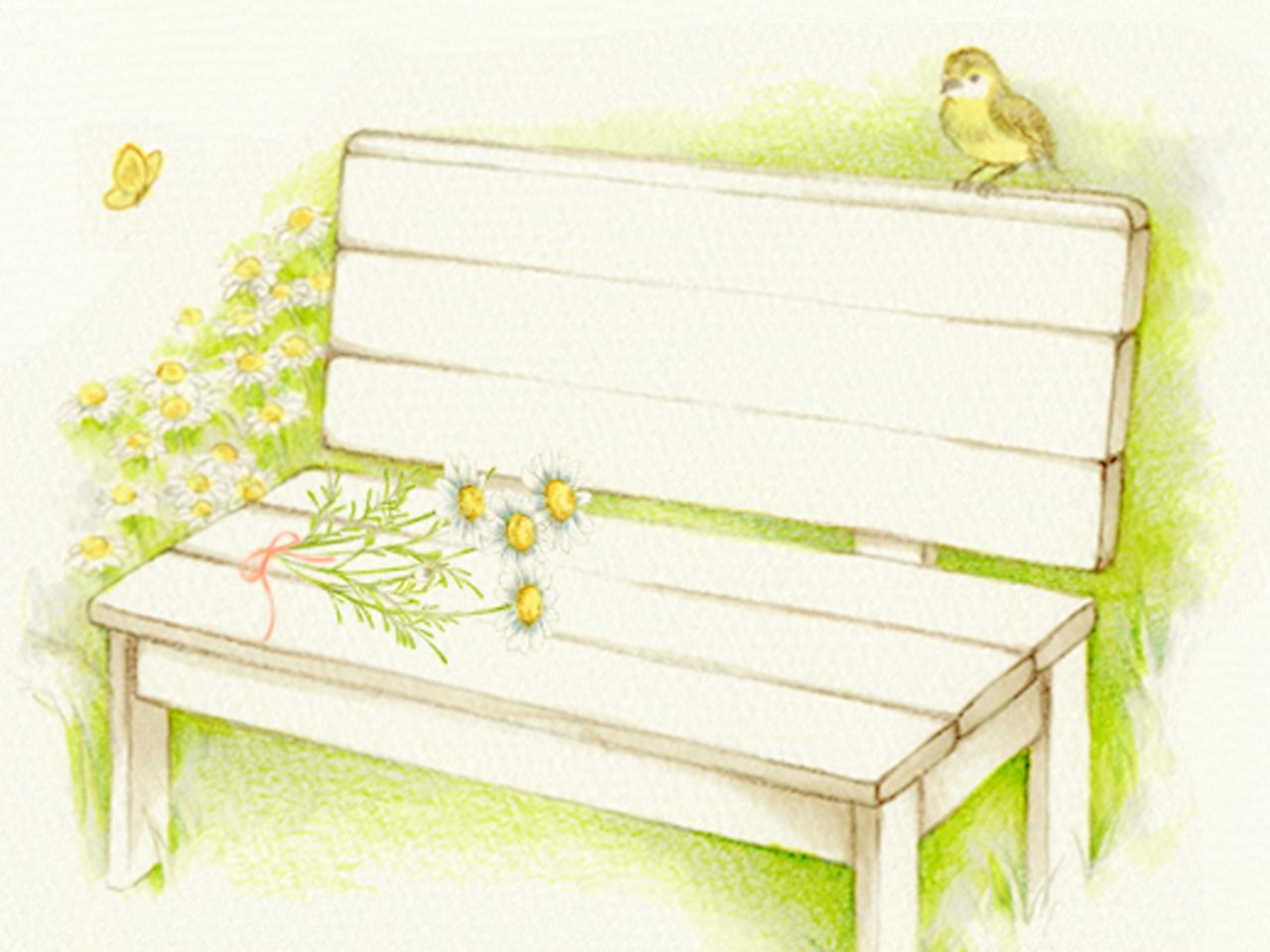 ベンチと小鳥と花束のイラスト