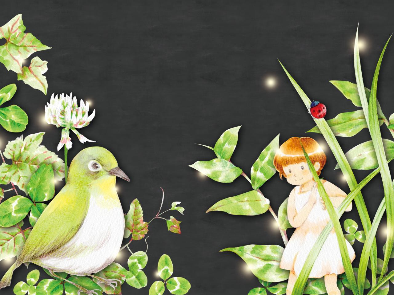 子どもと小鳥イラスト