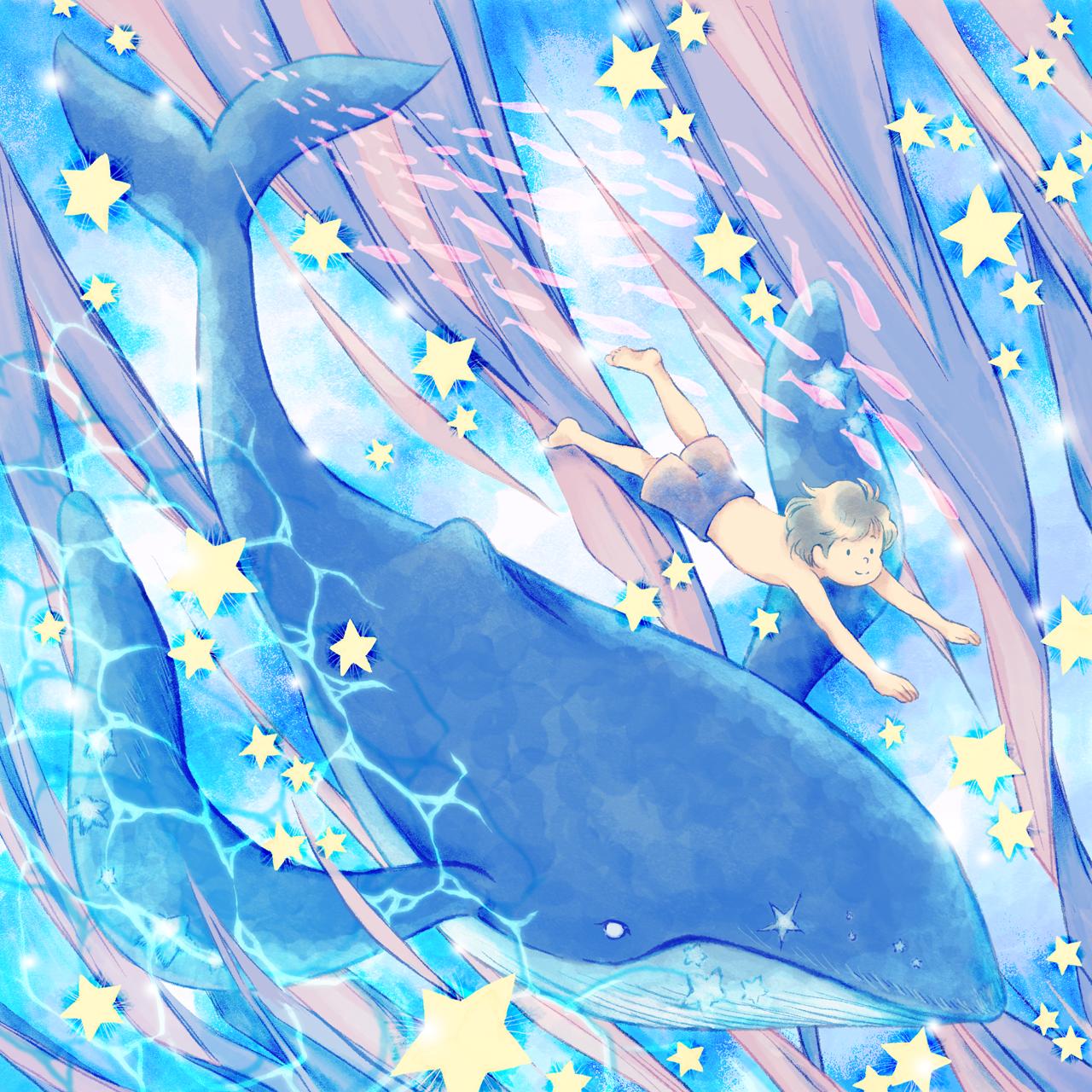 クジラと泳ぐ子どもイラスト