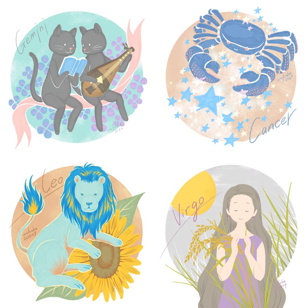 星座イラスト2:双子座・蟹座・獅子座・乙女座
