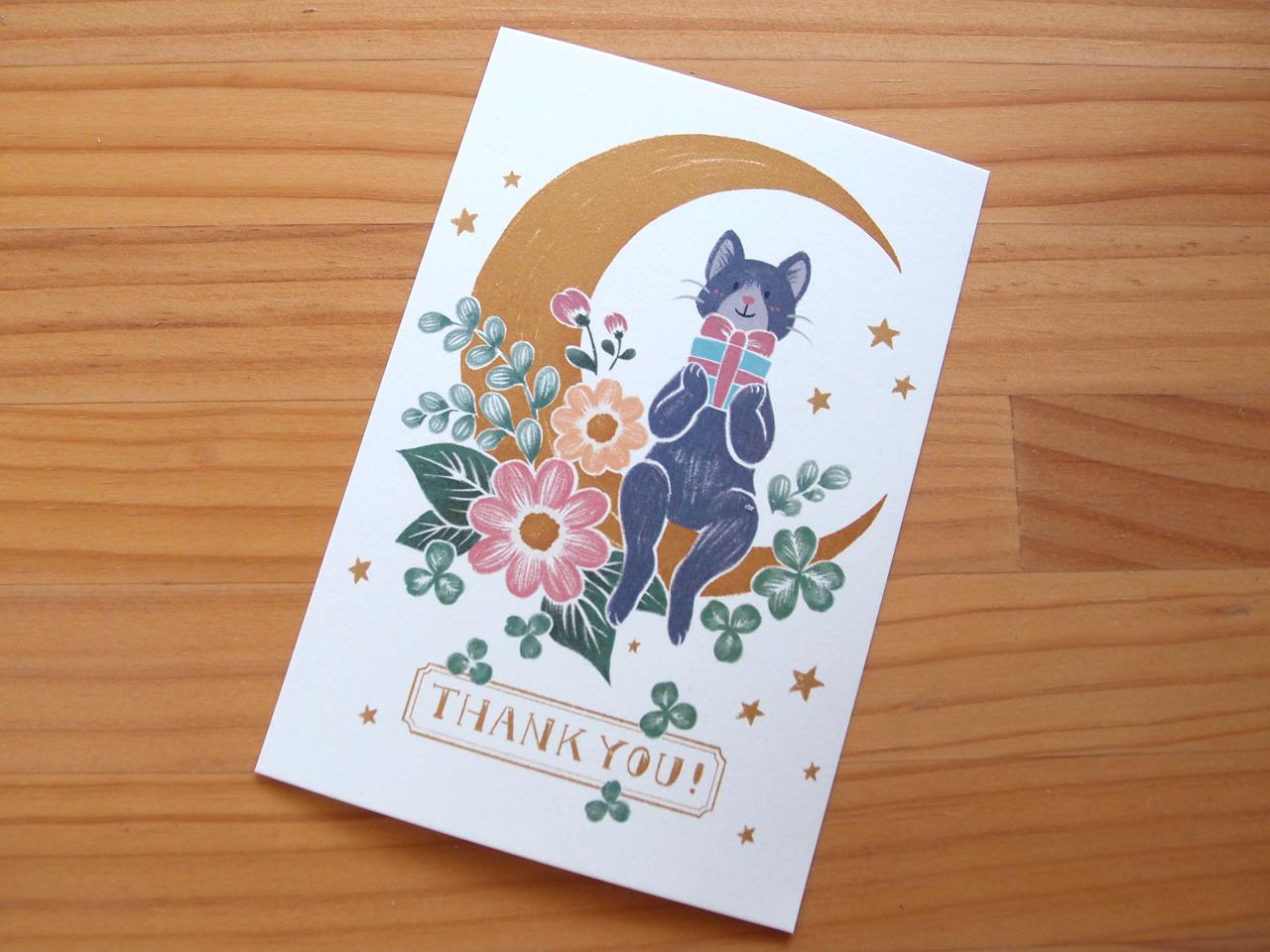 猫と月と花と:ポストカードイラスト