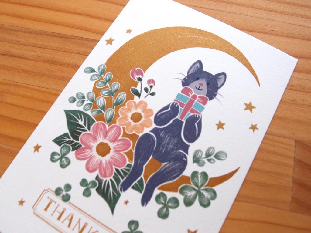 ネコと月と花と:ポストカードイラスト