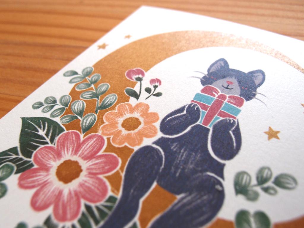 猫と月と花と:ポストカードイラスト拡大